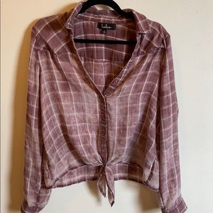 Lulus Tie-Front Pink Plaid Top